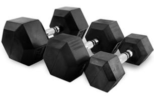 Serie manubri esagonali da 2 a 50 kg. MEG